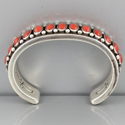 Sold: Calvin Martinez Sterling and Red Coral Bracelet $800