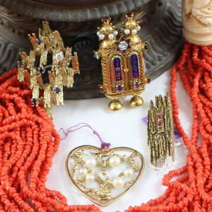 Coral and 14K jewelry