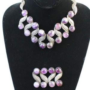 Fred Davis Amethyst Necklace Pin and Bracelet Set