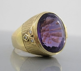 Sold: $650 Large 14K and Amethyst Ring