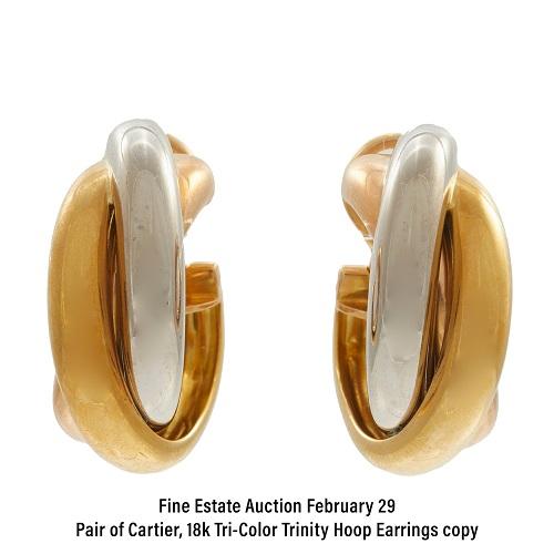 Pair of Cartier, 18k Tri-Color Trinity Hoop Earrings