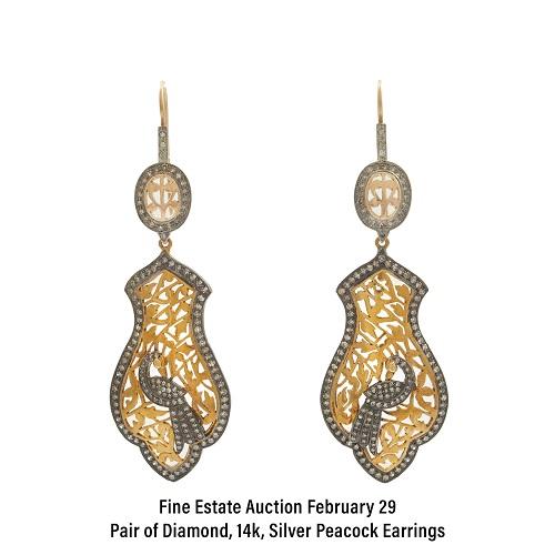 Pair of Diamond, 14k, Silver Peacock Earrings