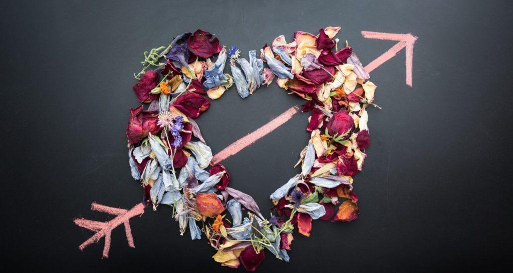 Alla hjärtans dag: Kärlek hjärta och blommor