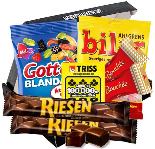 Tack och turpresent på en och samma gång: Triss, choklad och godis