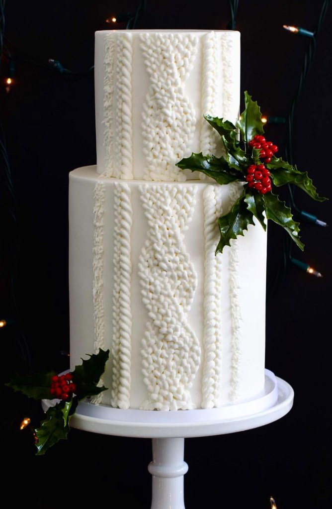 Piped cable knit sweater cake with sugar holly for Christmas in Toronto Canada