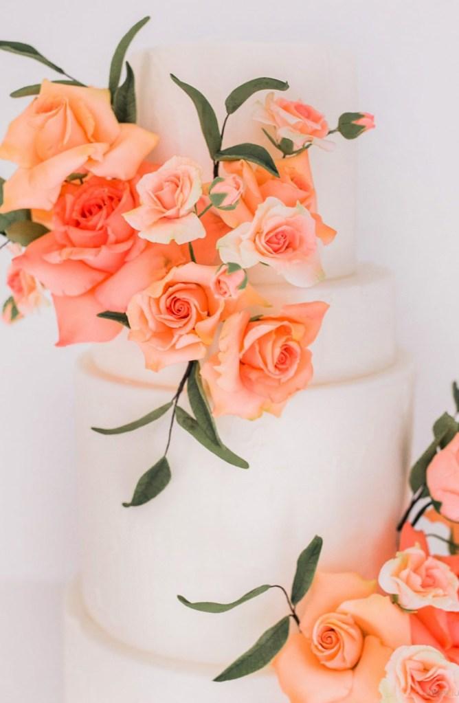 Assorted gumpaste roses in peach