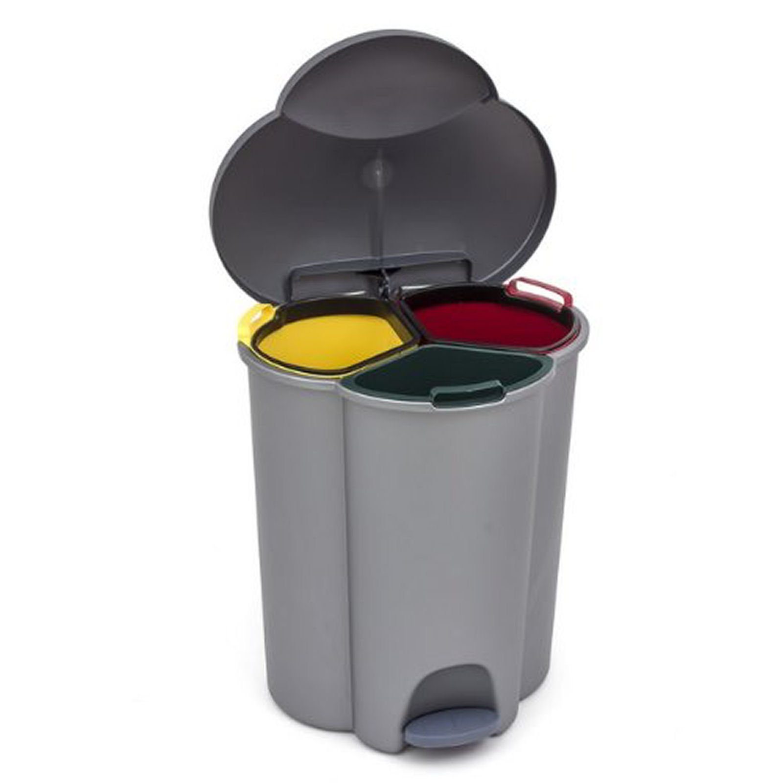 Kitchen trash can with 3 inner container for waste segregation