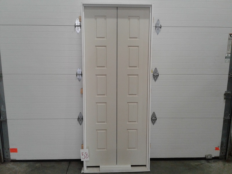 Interior Pre Hung 28x68 5 Panel Moulded Smooth Double Door