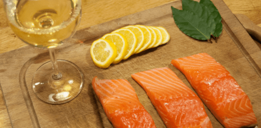 Salmon and white wine