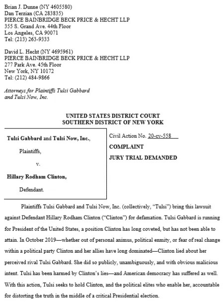 Tulsi Gabbard is Suing Hillary Clinton for $50 Million in Defamation Lawsuit 10