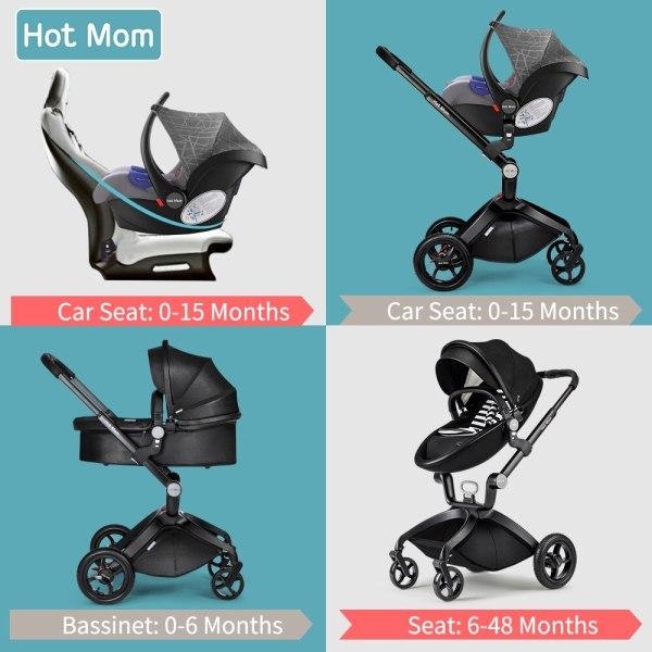 Hot Mom Barnvagn 3 i 1 Multifunktionellt Högt landskap Resesystem med bilbarnstol, 2020 modell F22