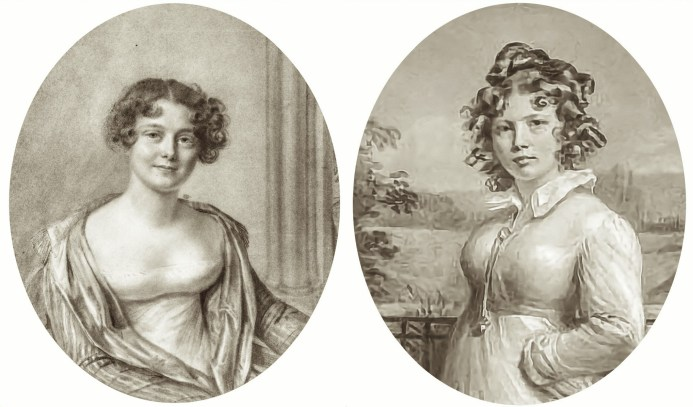 A composite image of two young women with soft curls. Both were drawn by Swiss artist Amelie Romilly in the early 19th Century. One is a portrait of Jane Griffin, the other a self-portrait.