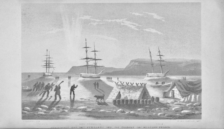 Crew members from the Lady Franklin, Sophia and Felix play with a sled dog on the coldest day of the winter. From Journal of a Voyage in Baffin's Bay..., Peter C. Sutherland, 1852.
