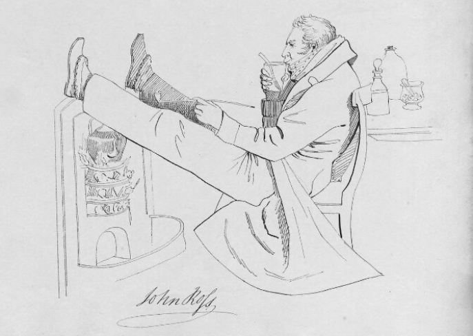 A cartoon of Sir John Ross, with his feet up over a fireplace.