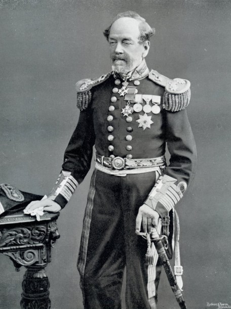 A black and white portrait of Admiral Sir Erasmus Ommanney.
