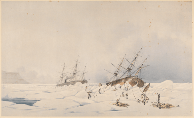 Inglefield's painting of the loss of the Breadalbane off Beechey Island in 1853.
