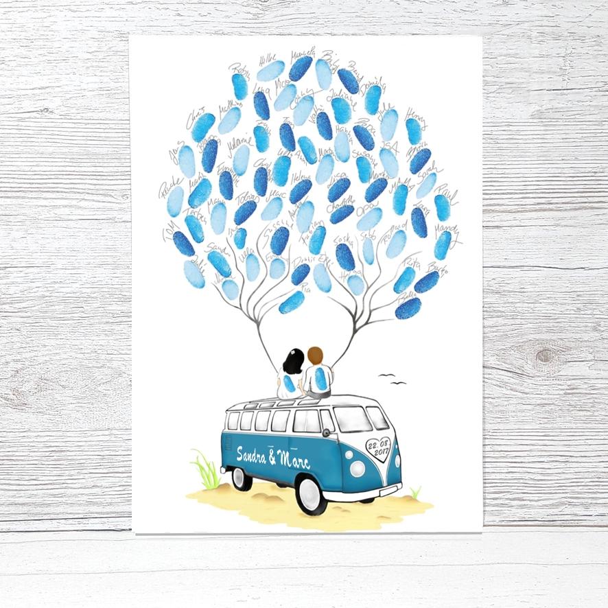 Wedding Tree Bus Bulli Farbig Fingerabdruckbaum