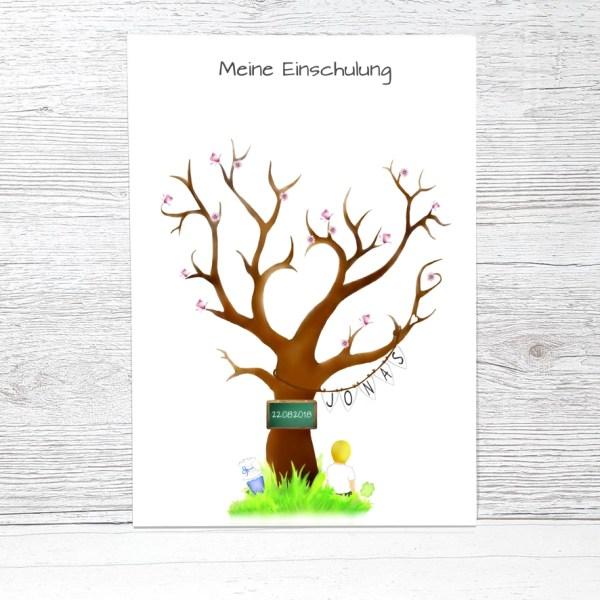 Fingerabdruckbaum Einschulung Jungen, Geschenk zur Einschulung, Fingerabdruck Einschulung, Zuckertütenbaum, Fingerabdruck Baum Schulanfang, Gästebuch Einschulung