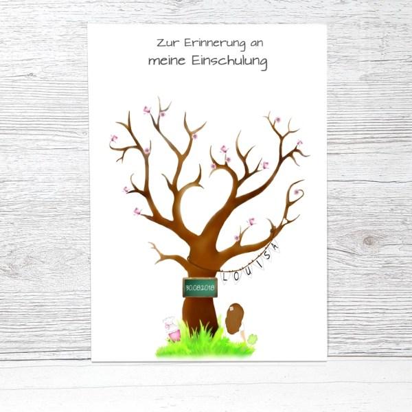 Fingerabdruckbaum Einschulung Mädchen, Geschenk zur Einschulung, Fingerabdruck Einschulung, Zuckertütenbaum, Fingerabdruck Baum Schulanfang, Gästebuch Einschulung