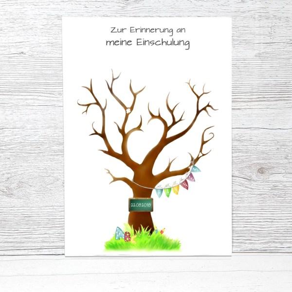 Fingerabdruckbaum Einschulung, Geschenk zur Einschulung, Fingerabdruck Einschulung, Zuckertütenbaum, Fingerabdruck Baum Schulanfang, Gästebuch Einschulung, Zuckertütenfest Geschenk