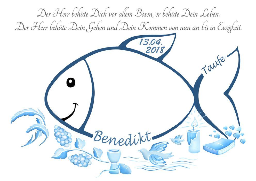 Tauffisch Fingerabdruck Taufe Fisch Blau
