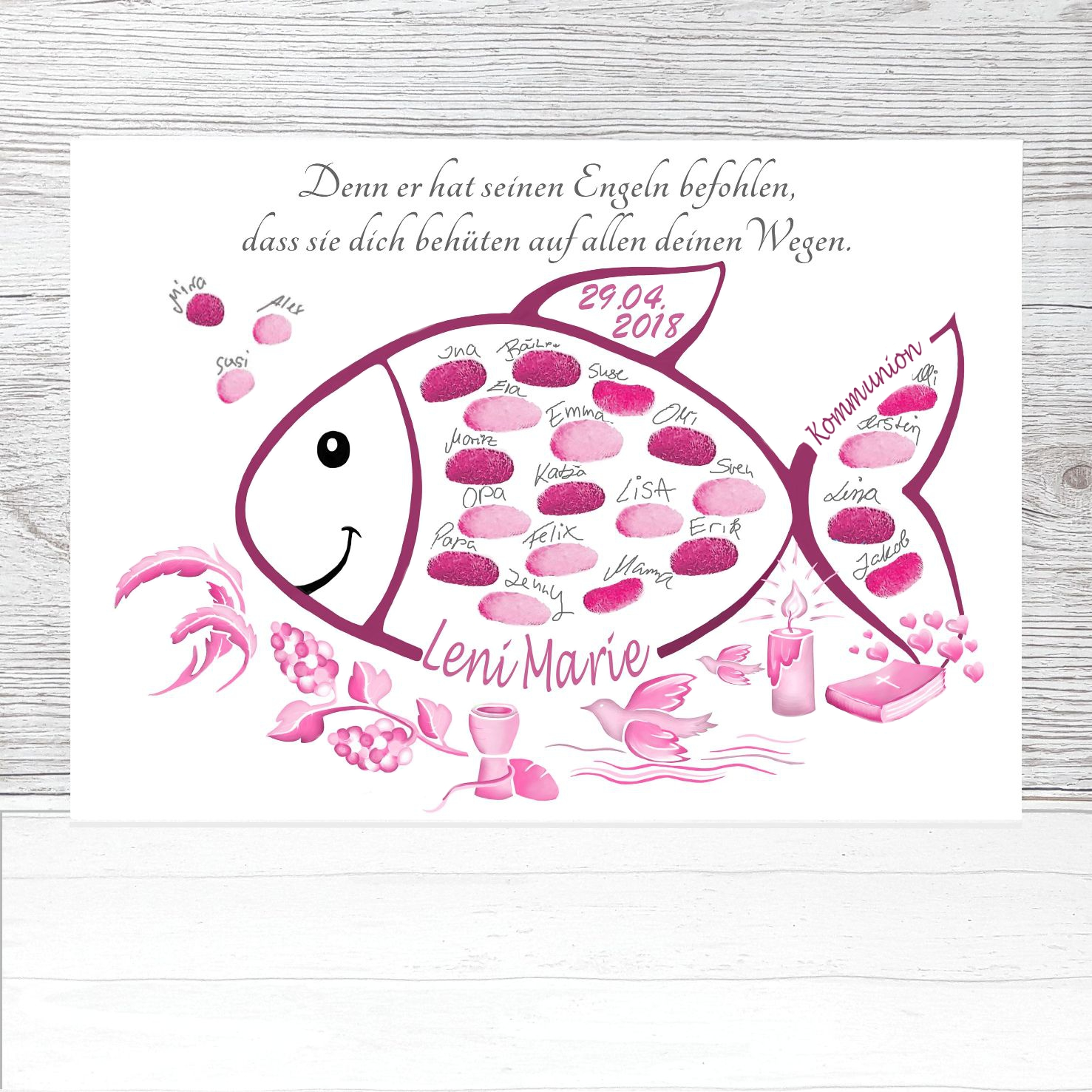 Fingerabdruck Fisch Kommunion Rosa