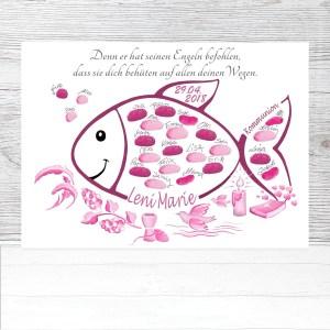 Kommunion Fisch, Fisch zur Kommunion, Fingerabdruck Fisch Kommunion, Kommunion Gästebuch Fisch