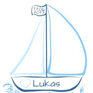 personalisiertes Geschenk zur Taufe, Taufe Geschenk Junge, Fingerabdruckbaum Boot, Taufe Fingerabdruck Baum