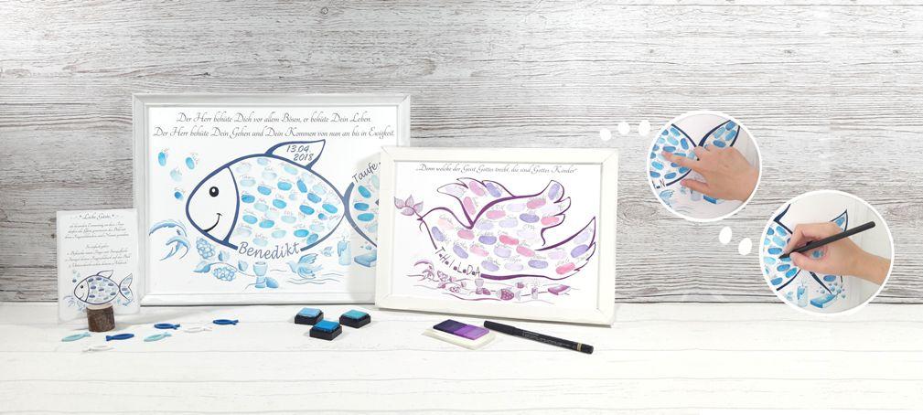 Tauffisch, Fisch zur Taufe, Fingerabdruck Fisch, Taufe Gästebuch, Taufe Fisch, Personalisiertes geschenk zur Taufe, Tauffisch Fingerabdruck
