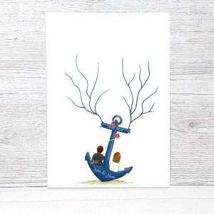 Wedding Tree Anker, Fingerabdruck baum Vorlage, Fingerabdruck Anker, Hochzeit Gästebuch Anker, Hochzeit deko blau