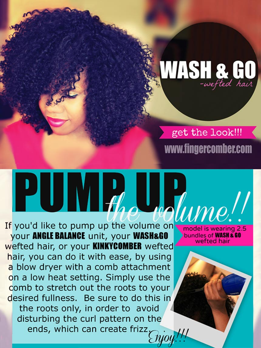 wash and go wefted hair_pump up the volume