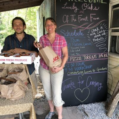 Liam Punshon and Eva Barnett of Lively Oaks Food Forest Farm, a collective homestead in Trumansburg. This was their first year on the tour.