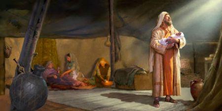 아브라함이 이삭을 안고 있는 모습