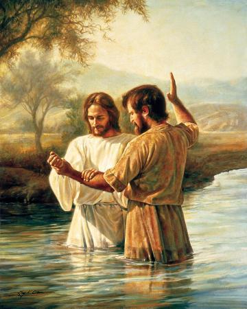 요단강에서 예수님께 세례를 주는 세례 요한