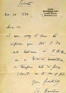 다윈의 친필 편지
