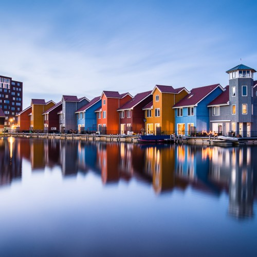 Colourful Scandinavian-style wooden houses at Reitdiephaven in Groningen