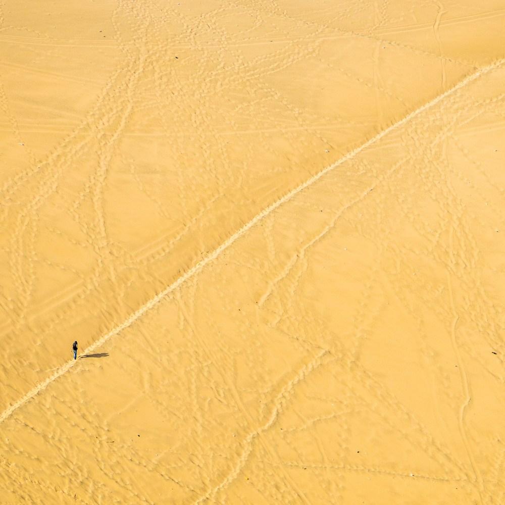 Walking through the desert in Peru