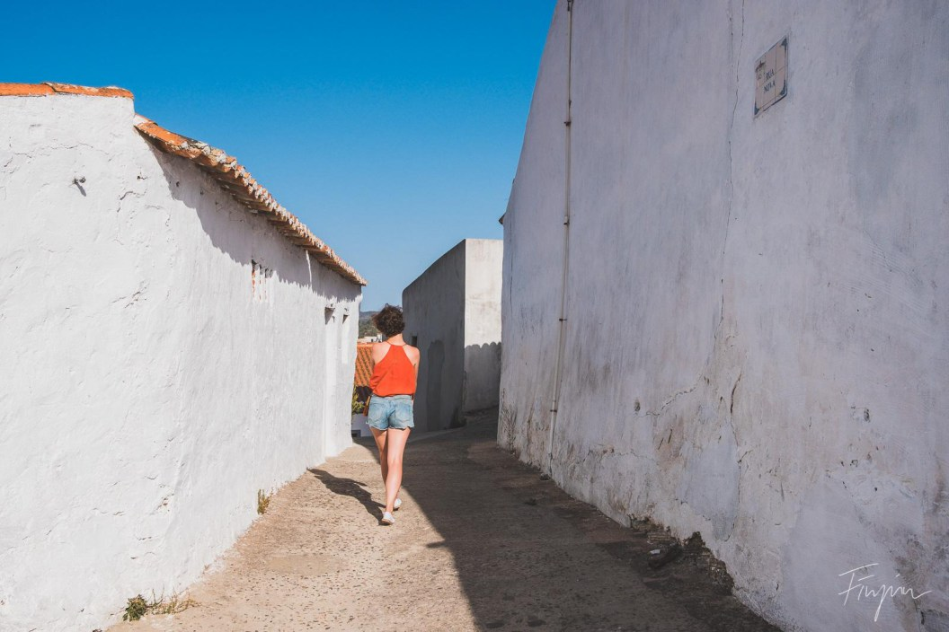 girl alley sunny red aljezur white portugal
