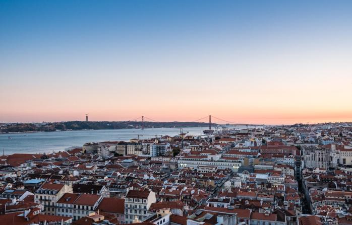lisbon view castle sunset