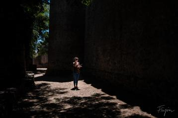 girl castle portugal shadow light
