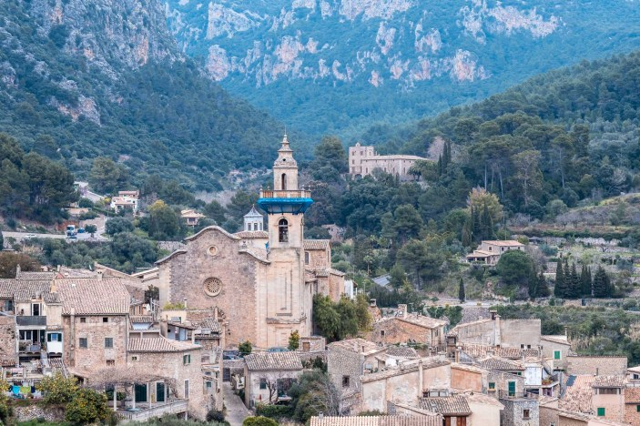 An ancient church in a valley on the island of Mallorca