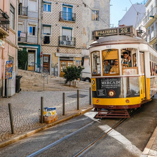 The famous train no. 28 in the streets of Lisbon in Portugal
