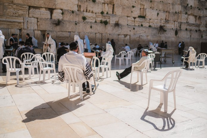 People praying at the Western Wall in Jerusalem