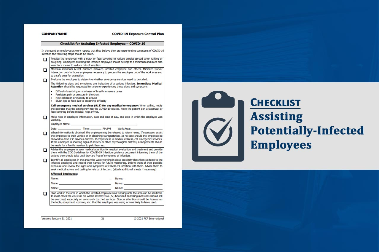 FCA News Image - Assisting Potentially Infected Employees