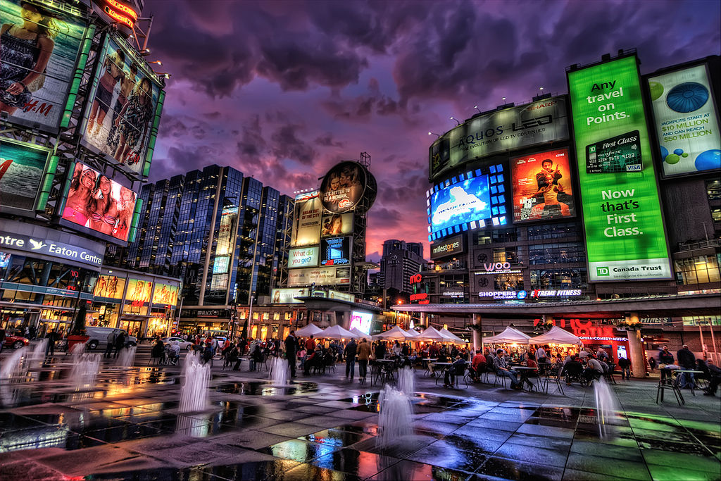 "image: ""Dundas Square in Downtown Toronto, Ontario, Canada"" by Pedro Szekely, Wikimedia Commons, licensed under the Creative Commons Attribution 2.0 Generic license."
