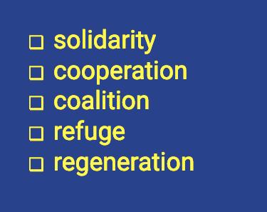 Five values listed: solidarity, cooperation, coalition, refuge, regeneration