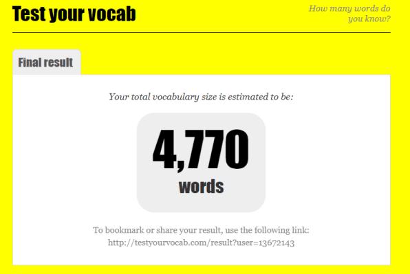 Test Your Vocabulary測驗結果