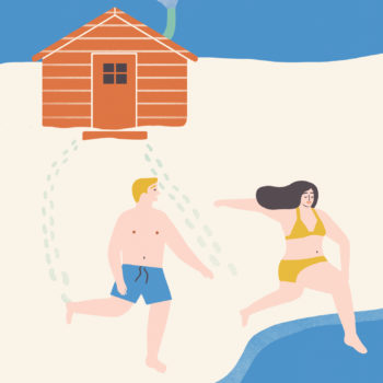 An illustration of two people dressed in swimwear running on snow from a small wooden sauna to a lake.