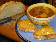 French onion pot roast beef stew with sourdough toast