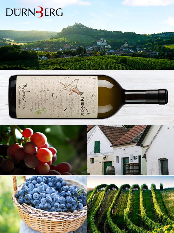 Weingut Dürnberg, eine Weinflasche und Weintrauben